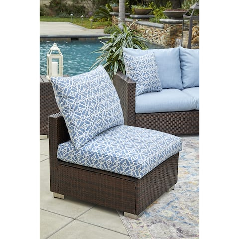 Duxbury Brown Rattan and Aluminum Outdoor Armless Chair with Blue Geometric Cushions by Havenside Home