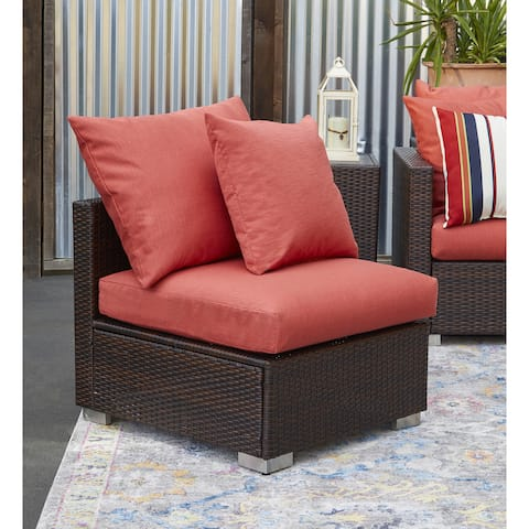 Duxbury Brown Rattan and Aluminum Outdoor Armless Chair with Deep Coral Cushions by Havenside Home