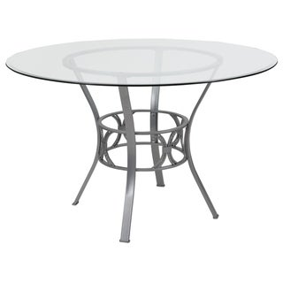 """Carlisle 48'' Round Glass Dining Table with Metal Frame - 48""""W x 48""""D x 29.5""""H"""