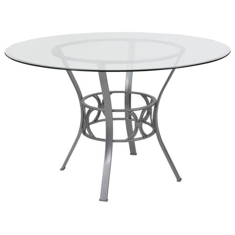 Carlisle 48'' Round Glass Dining Table with Metal Frame