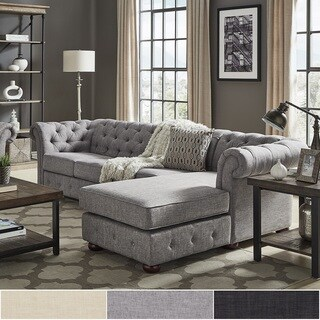 Knightsbridge Tufted Scroll Arm Chesterfield 4-Seat Sofa and Chaise by iNSPIRE Q Artisan