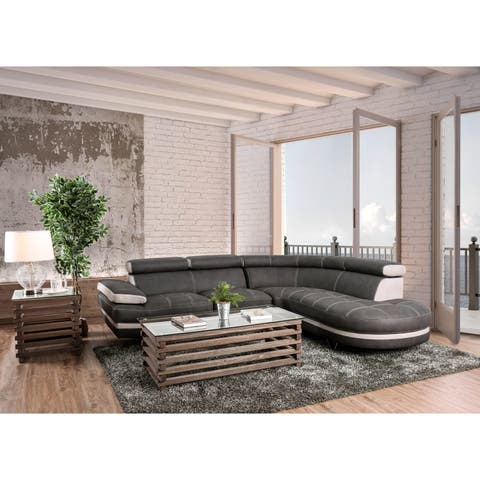 Furniture of America Gio Modern Graphite Nubuck Fabric Sectional Sofa Sleeper