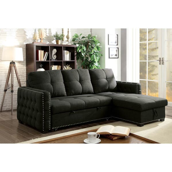 Pleasing Furniture Of America Romero Tufted Linen Sleeper Sofa Sectional Creativecarmelina Interior Chair Design Creativecarmelinacom