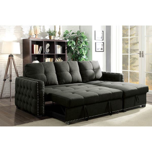 Furniture of America Lidg Transitional Grey Sleeper Sofa Sectional