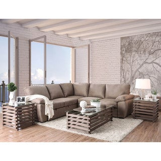 Furniture of America Pene Transitional Brown Sleeper Sofa Sectional