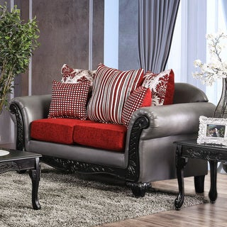 Furniture of America Ming Traditional Faux Leather Padded Loveseat