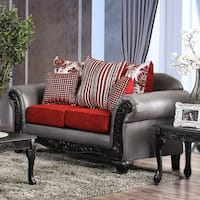Furniture of America Danvers Traditional Leatherette & Chenille Loveseat