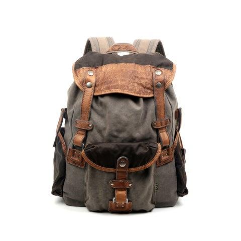 TSD Brand Tapa Two-Tone Canvas Backpack