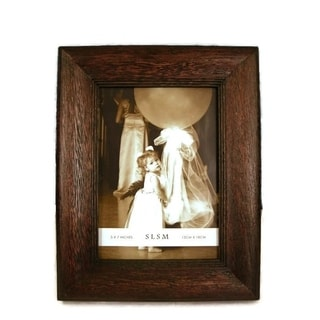 "Elegance 5x7"" Wood Photo Frame, Rustic Convex Border"