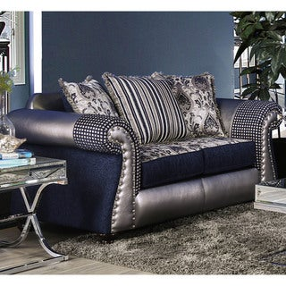 Furniture of America Jones Navy Blue Leatherette & Chenille Loveseat