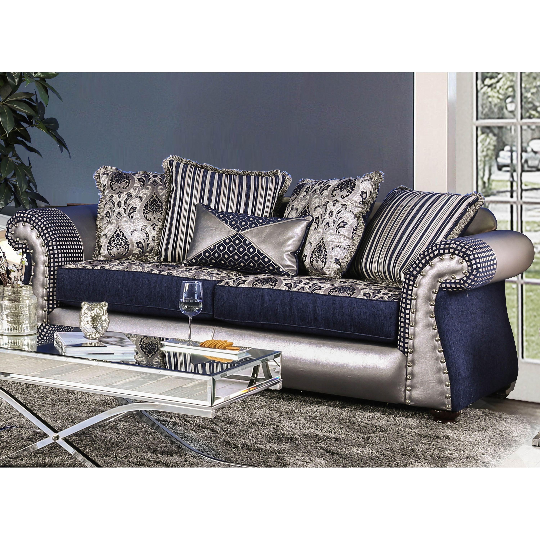 Furniture of america jones navy blue leather chenille sofa