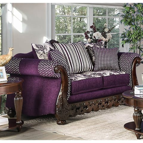 Furniture of America Liti Traditional Purple Chenille Padded Loveseat