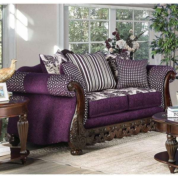 Furniture of America Liti Traditional Purple Chenille Padded Loveseat. Opens flyout.