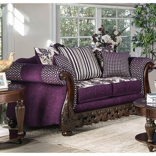 Furniture of America Carter Traditional Carved Trim Purple Chenille Loveseat
