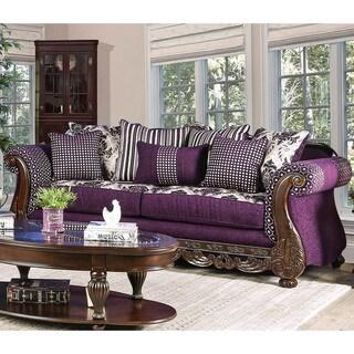 Furniture of America Liti Traditional Purple Chenille Upholstered Sofa