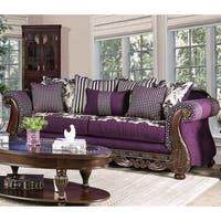 Furniture of America Carter Traditional Carved Trim Purple Chenille Sofa
