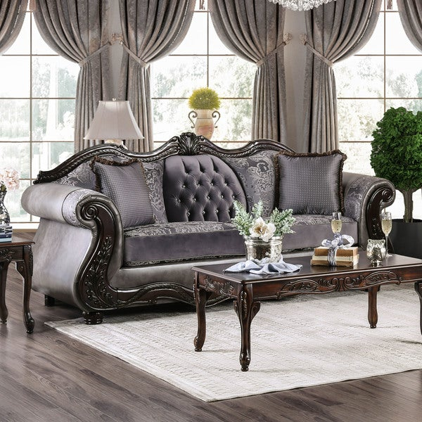 Furniture Of America Westport Leather And Chenille Sofa