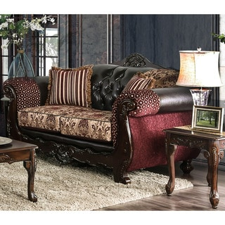 Furniture of America Rend Traditional Leatherette Tufted Loveseat