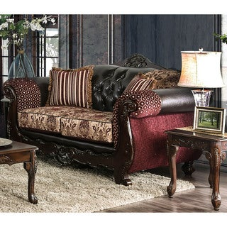 Furniture of America Townsend Traditional Tufted Chenille Loveseat