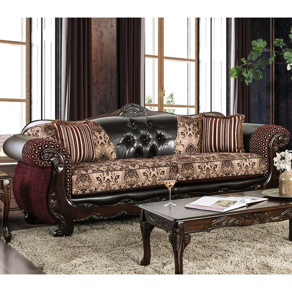 Furniture Of America Townsend Traditional Tufted Chenille And Leather Sofa