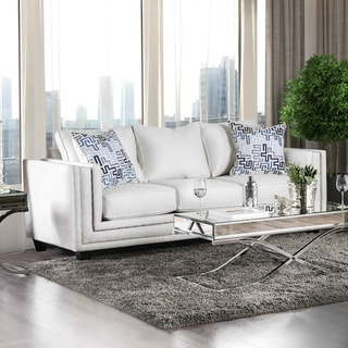 Furniture of America Tigg Contemporary White Fabric Upholstered Sofa