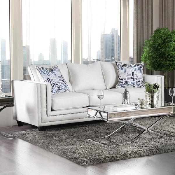 Modern Nailhead Sofa: Shop Furniture Of America Catalina Contemporary Chenille