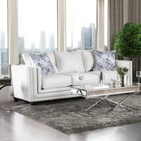 Furniture of America Catalina Contemporary Chenille Nailhead Sofa