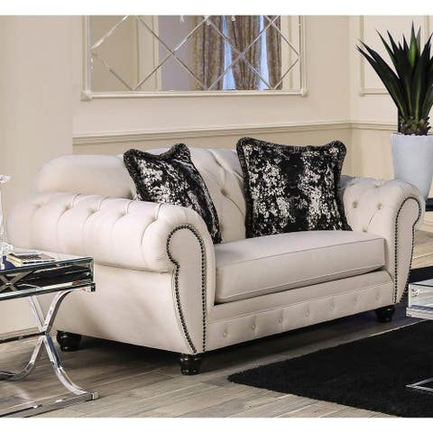 Furniture of America Cury Transitional Beige Fabric Tufted Loveseat