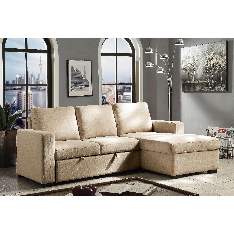 Furniture Of America Diba Transitional Fabric Sleeper Sofa Sectional