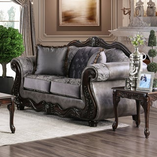 Furniture of America Westport Traditional Tufted Chenille Loveseat (2 options available)