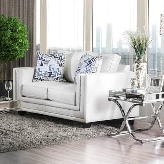 Furniture of America Tigg Contemporary White Fabric Padded Loveseat
