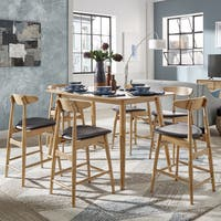 Norwegian Danish Mid-Century Natural Oak Counter Height Dining Set by iNSPIRE Q Modern