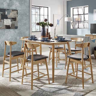 Norwegian Danish Mid-Century Natural Oak Counter Height Dining Set by iNSPIRE Q Modern