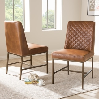 Modern Faux Leather Upholstered Dining Chair Set by Baxton Studio