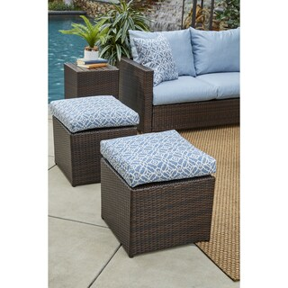 Handy Living Aldrich Brown Rattan and Aluminum Outdoor 2pc Ottoman Set with Blue Geometric Cushions