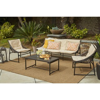 Handy Living Nico 4 Piece Indoor/Outdoor Sling Conversation Set in Brown Woven Resin Rattan with Beige Fabric Cushions