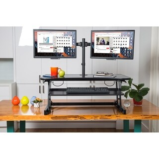 "Rocelco DADR Adjustable Standing Desk Riser 37"" Blackwith Monitor Arm"