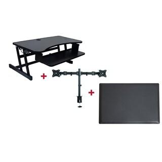 "Rocelco DADR Adj. Standing Desk Riser 37"" Black w/Monitor Arm and Mat"