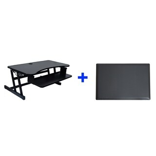 """Rocelco DADR Adjustable Sit to Standing Desk Riser 37"""" Black with Mat"""