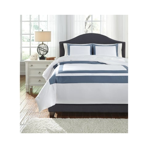 Signature Design by Ashley Daruka Blue/ White 3-piece Duvet Set