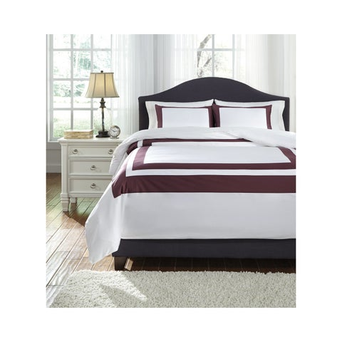 Signature Design by Ashley Daruka Plum/ White 3-piece Duvet Set