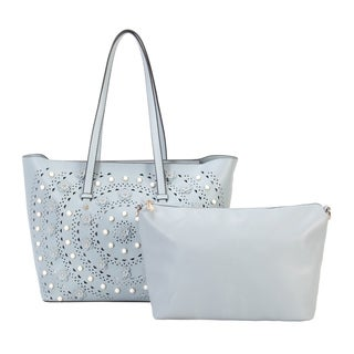 Diophy Solid Flower Hollow Out Design 2 Pieces Tote Bag - L