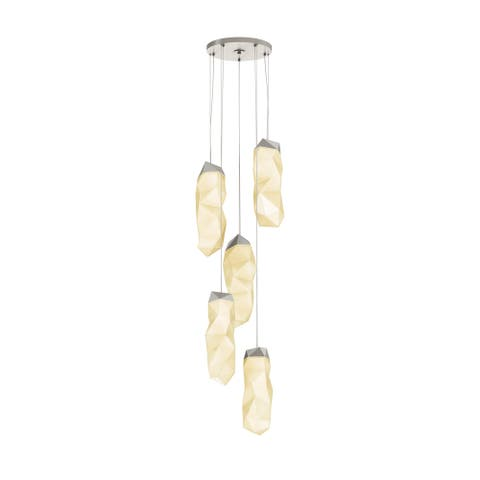 Sonneman Lighting Facets 5-light Satin Nickel Large LED Round Pendant, White Shade