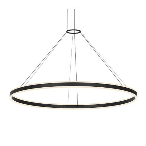 Sonneman Lighting Double Corona Satin Black 60-inch LED Ring Pendant, Frosted White Shade