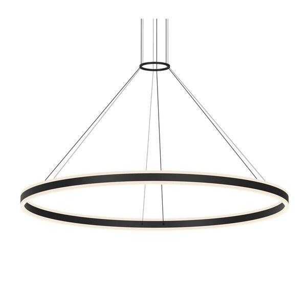 Sonneman Lighting Double Corona Satin Black 60-inch LED Ring Pendant, Frosted White Shade