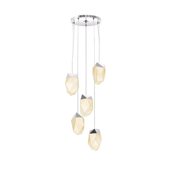 Sonneman Lighting Facets 5-light Polished Chrome Medium LED Round Pendant, White Shade