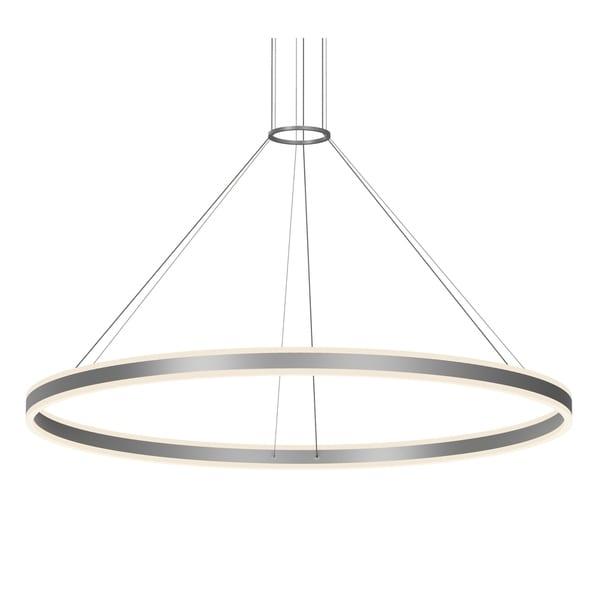 Sonneman Lighting Double Corona Satin Black 48-inch LED Ring Pendant, Frosted White Shade