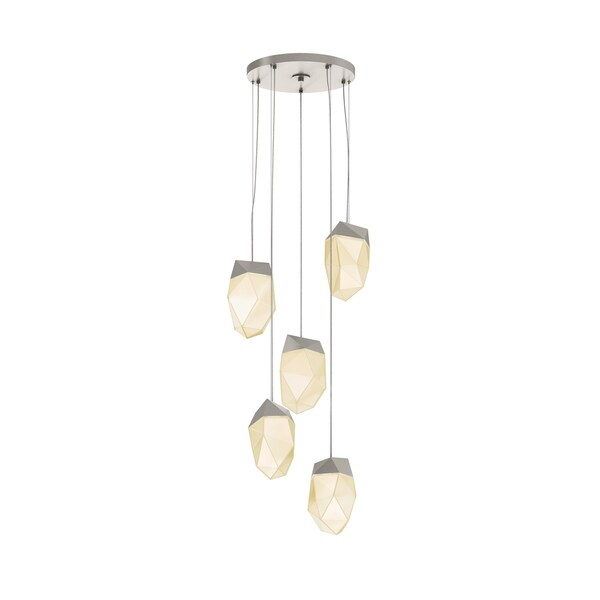 Sonneman Lighting Facets 5-light Satin Nickel Medium LED Round Pendant, White Shade
