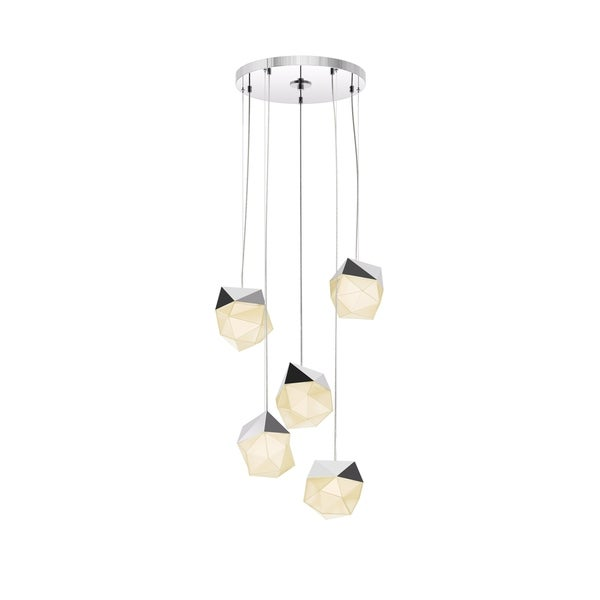 Sonneman Lighting Facets 5-light Polished Chrome Small LED Round Pendant, White Shade