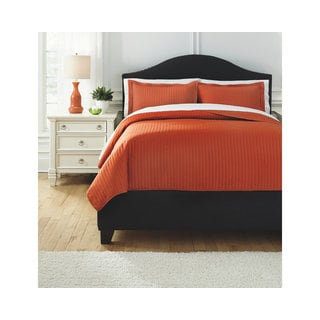 Signature Design By Ashley Raleda Orange 3 Piece Coverlet Set